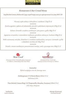 menu restauracji w Białymstoku